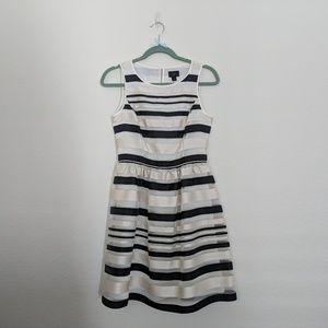 NEW Banana Republic Black Cream Stripe Party Dress